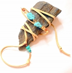 Turquoise and Citrine Leather Wrap Bracelet