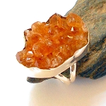 Raw Citrine Sterling Silver Ring Size 7.5