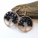 Black Tourmaline Tree of Life Earrings