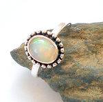 Welo Opal Sterling Silver Ring Size 5