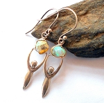 Raw Ethiopian Opal Sterling Silver Goddess Earrings