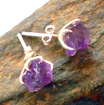 Raw Amethyst Sterling Silver Post Earrings