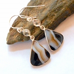 Agate and Clear Quartz Earrings
