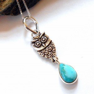 Turquoise Sterling Silver Owl Necklace
