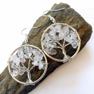 Clear Quartz Tree of Life Earrings