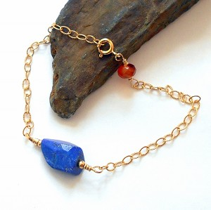 Lapis and Carnelian Gold Bracelet