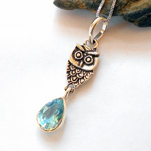Blue Topaz Sterling Silver Owl Necklace