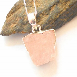 Raw Rose Quartz Sterling Silver Necklace