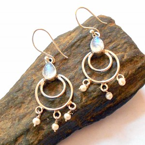 Moonstone and Pearl Sterling Silver Earrings