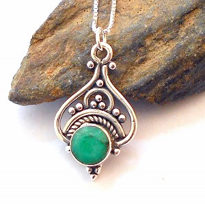Emerald Sterling Silver Necklace