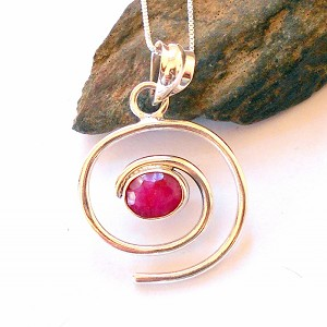 Ruby Sterling Silver Necklace