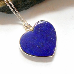 Lapis Sterling Silver Heart Necklace