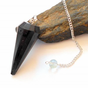 Black Tourmaline Faceted Pendulum