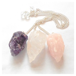 3 Stone Pendulum Kit Raw Rose Quartz Amethyst Clear Quartz