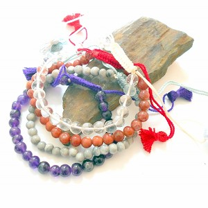 Sliding Knot Tassel Gemstone Bracelets Set of 4