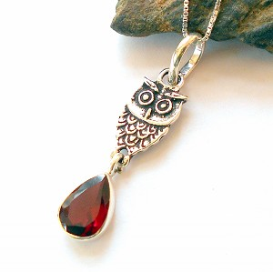 Garnet Sterling Silver Owl Necklace