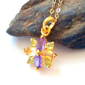 Amethyst Peridot and Citrine Star Necklace