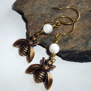 Mother of Pearl Bumblebee Earrings