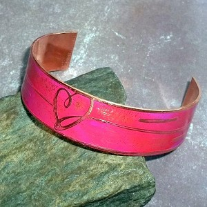 Pink Patina Heart Copper Cuff Bracelet