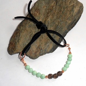 Green Opal and Smoky Quartz Wrap Bracelet